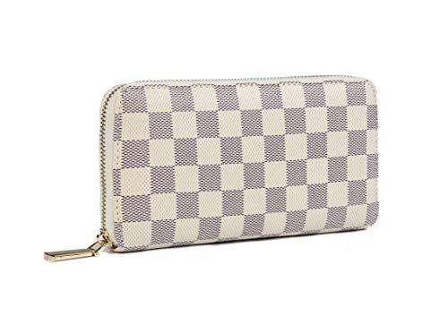 Daisy Rose Frauen'S Checkered Zip Around Wallet und Telefon Clutch - Rfid Blockierung mit Kartenhalter-Organisator -Pu Vegan Leder, groß Sahne -