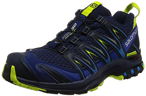 Salomon XA PRO 3D, Zapatillas de Trail Running para Hombre, Blue Depths/Navy Blazer/Lime Punch, Talla: 42