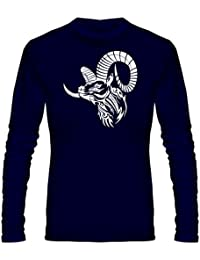 T Shirt - Full Sleeve Round Neck Goat Skull Tattoo Vector Design Graphics Printed 100% Cotton T Shirt - Goat Skull...