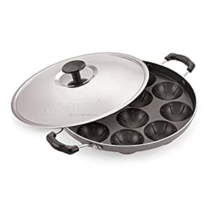 iVBOX Non Stick Grill Design 12 Cavity Appam Patra/Appam Maker Paniyarakkal with Lid, Hammer Tone Coating, Grey