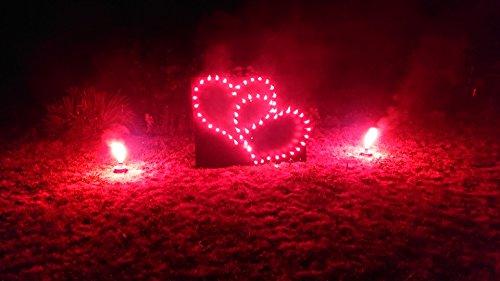FF Lichterbild Brennendes Doppelherz mit Farbwechsel inkl.2 Bengallicht XXL Hochzeit Herz