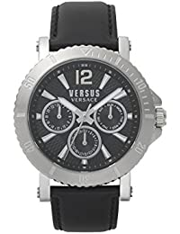 Versus by Versace Homme Analogique Quartz Montre avec Bracelet en Cuir VSP520218