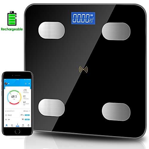 Körperfettwaage, Waage mit Körperfett, Personenwaage Digitale Körperanalysewaage, Bluetooth Personenwaage mit App,für iOS&Android, Durch USB Kabel Wiederaufladbare,bis 180kg 400lb.(11 * 11 inch)