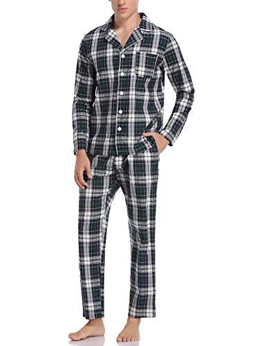 Aibrou Herren Schlafanzug lang Karierter Pyjama Set Zweiteilige Nachtwäsche Langarm mit V-Ausschnitt und Knopfleiste Blau+Grün+Weiß XL