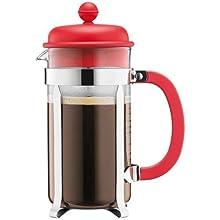 Bodum – Caffettiera – Caffettiera a pistone tazze, Vetro, Rosso, 1L