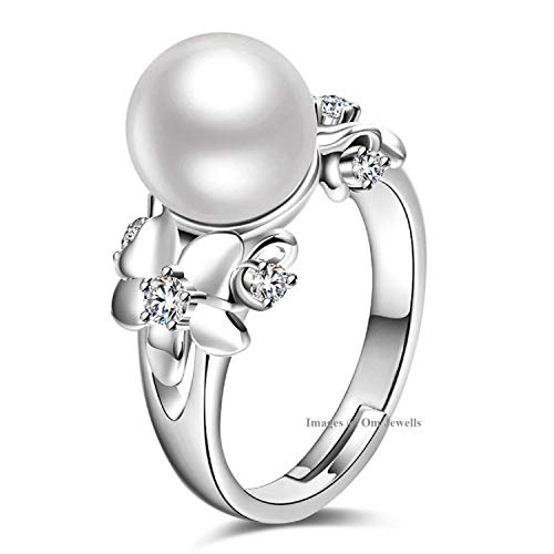 Om Jewells Rhodium Plated Brass Metal and Pearl Studded Adjustable Ring for Girls and Women FR1000949