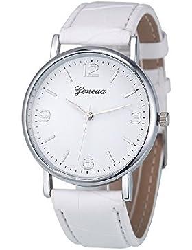 XLORDX Geneva Uhren,Mode Damen Herren Armbanduhr Lederarmband Damenuhr Vogue Weiß Analog Qaurzuhr