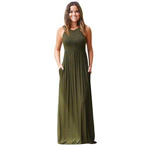 Bekleidung Longra❤️❤️ Kleider Damen, Frauen Ärmelloses Sommerkleid Strandkleider Blumenmuster Lang Maxi Kleid mit Taschen (S, Army Green) (Army Rock)