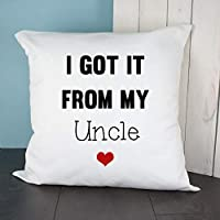 """""""I Got It From My Uncle"""" Heart Throw Cushion Cover - Gift for Couples, Mr & Mrs, Mr & Mr, Mrs & Mrs, Christmas, Birthdays, Valentine's Day, Anniversary Gifts"""
