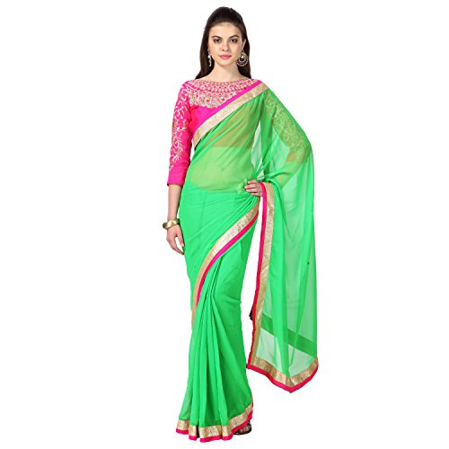 Janasya Chiffon Saree (Jne0289 _Green)