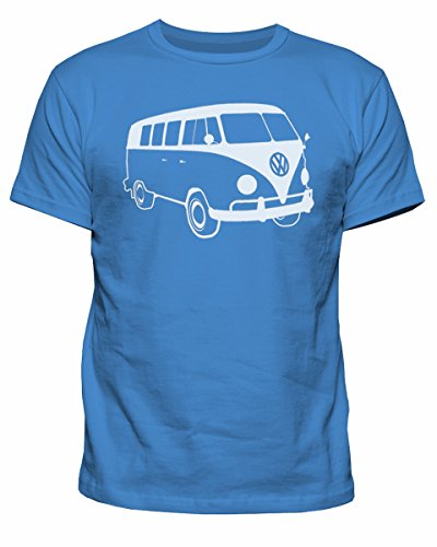 Reverb Clothing Herren VW Campervan Camper Retro Camp Van Volkswagen Top T-Shirt New S-XXL, Camper Mens, Blau, CV-MT101 -