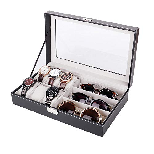FIONAT Schmuckkästchen Pu-Leder 6-Bit-Uhrenbox 3-Augen-Box Sonnenbrille Sonnenbrille Mit Transparenter Abdeckung Display Aufbewahrungsbox