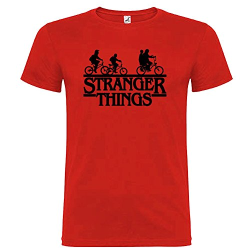 T-shirt manica corta Unisex Stranger Things Bikers By Bikerella Rosso/Nero