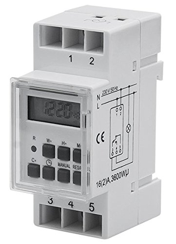 PoloMar Digitale Zeitschaltuhr Wochenplan Hutschiene 16A DIN-Schiene Schalttafel DIN 16A 3600W 230V