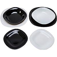 Luminarc Carine Servicio de Mesa, Forma Cuadrada, Vidrio, Blanco/Negro, 18 Piezas