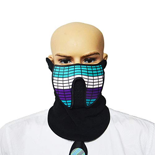 WUYEA Voice Control Maschera Incandescente LED Luce Fredda Fino Maschere Street Dance Masks
