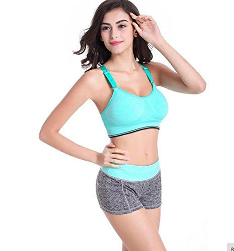Encounter Femme Sexy Soutien-gorge de Sport Lingerie Brassière Sans Armature Réglable pour Yoga Gym Fitness Vert clair