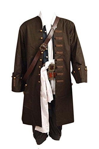 Captain Kostüm Herren Pirate - Pirates Of The Caribbean Jack Sparrow Jacke Mantel Cosplay Kostüm M