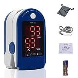 Fingertip Pulse Oximeter Heart Rate Monitor Blood Oxygen Saturation SpO2 Sensor LED Display with Carrying bag,Landyard & Battery(Blue)