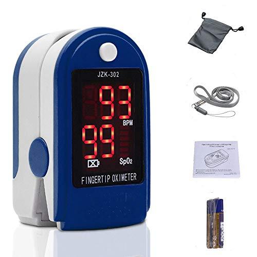 Dedo oxímetro de pulso Monitor de frecuencia cardíaca Sensor de SPO2de saturación de oxígeno en sangre pantalla LED con bolsa de transporte, landyard cartucho recargable (azul)