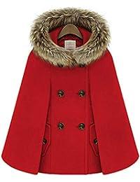 YOGLY Manteau Femme Chaude Hiver Épais Poncho Cape à Capuche Veste Châle  Casual Double Boutonnage Outwear Manteau Vintage… 2016c91dd70