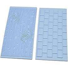 Kicode 2 piezas Fondant Ladrillo de pared Impresión de grano de madera Decoración de pastel Molde