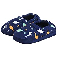 MIXIN Toddler Boys Kids Memory Foam Comfy Cozy Cute Soft Slip on Anti Slip House Indoor Slippers Shoes