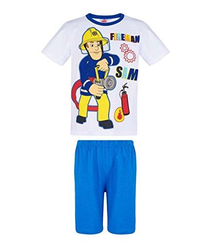Feuerwehrmann Sam Shorty Pyjama, weiß-blau, Gr. 98-128 Größe 116