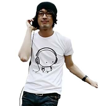 Zehui Mens Casual Cotton Shorts Micphone Rock Music Tee Shirt White Tag Asia XL