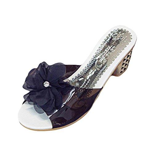 OYSOHE Damen Blumen Hausschuhe Pantoffel Frauen arbeiten Geöffnete Zehe Schuhe Böhmen Absatz Schuhe um