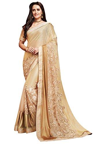 Designer Partywear Cream & Golden Shimmer Embroidered Saree By Takshaya