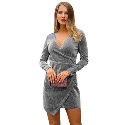 Z-SANMAO Frauen V-Ausschnitt Stretch Gold Silk Professional Dress - Damen Classy Kurzarm Sparkle Formelle Abend Cocktail Party Mode Kleidung Kleider mit Rüschen S-XL,Silver,L - Classy Brautjungfer Kleider