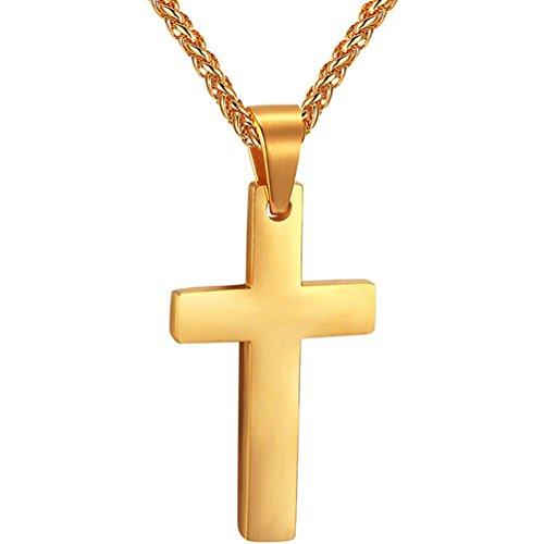 PROSTEEL Collana Pendente con Cindolo di Croce Semplice Acciaio Inossidabile, Catena 55 60 cm, Confezione Regalo Gratuito Placcato Oro 18K, per Donna/Uomo, Color Oro