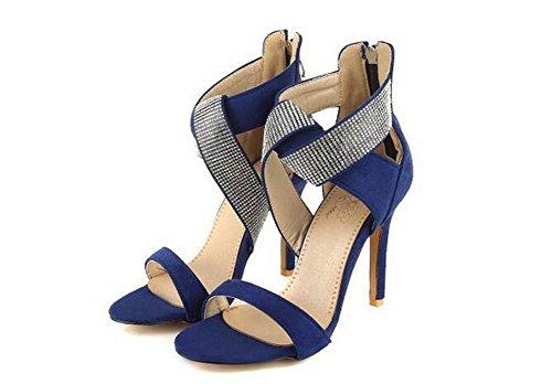 Beauqueen High toe Größe Sandalen X Blue Feminine Reißverschluss Heel Pumps Stiletto Europa 34 Hochzeitsfest Suede Open straps 43 Kundenspezifisch x0XZnr0qw