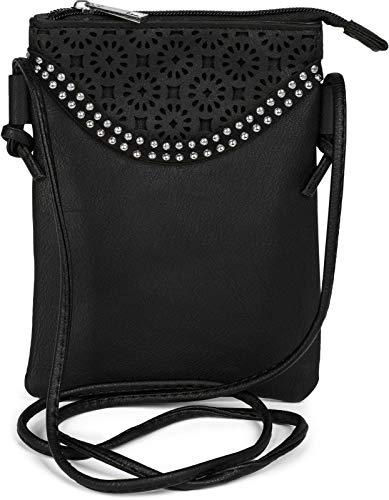 styleBREAKER Minibag Umhängetasche mit Blumen Cutout Muster und Nieten, Schultertasche, Tasche, Damen 02012127, Farbe:Schwarz