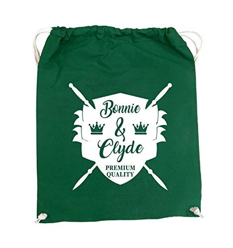 Comedy Bags - Bonnie & Clyde RITTER - MOTIV - Turnbeutel - 37x46cm - Farbe: Schwarz / Pink Grün / Weiss