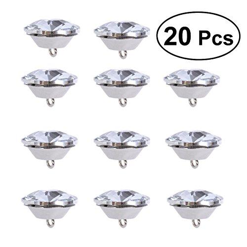 ultnice 20pcs 25mm Strasssteine mit Schleife aus Glas Metall Knöpfen für Nähmaschine Sofa Polster
