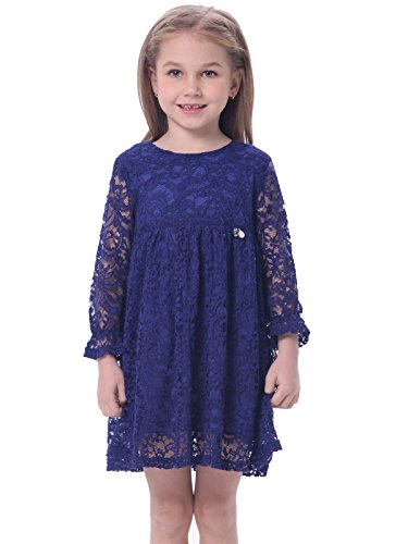 Bonny Billy Girls Long Sleeve Round Neck Lace A-Line Casual Holiday Party Dress for Kids Nave Blue