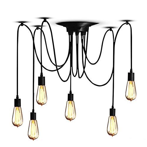 Cocoarm Spinne Kronleuchter DIY Decke Spider Lampe Retro Industry Ceiling Light DYI Vintage Pendelleuchte Speisesaal Schlafzimmer Hotel Dekoration (6 Kopf) - Metall-kronleuchter