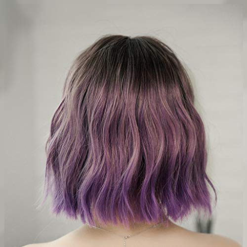 AX- wig Perücke weibliches kurzes Haar Flauschiges Haar natürliches Gesicht Temperament kurzen lockigen Mais ()