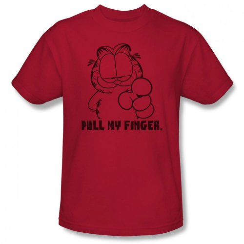 Garfield - Herren Pull My Finger T-Shirt In Cardinal Cardinal