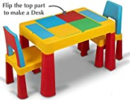 Home Canvas 2-IN-1 Unisex Kids Building Block & Study Lego Table & Chair Set, Multicolor Table and Cha
