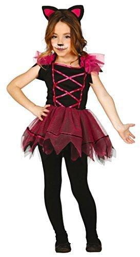 sa Katze Halloween Karneval Tier für Katzen Kitty Kostüm Kleid Outfit 3-12 Jahre - Rosa, 3-4 years (Kitty Kostüme Für Mädchen)