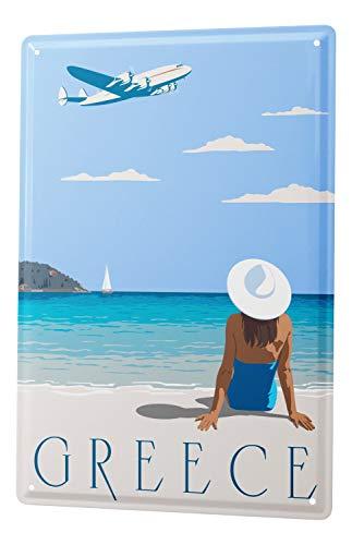 Agence De Voyage De Vacances De Décoration De Signe De Plaque Émaillée Grèce plage de maillot de bain des femmes aéronefs 20X30 cm