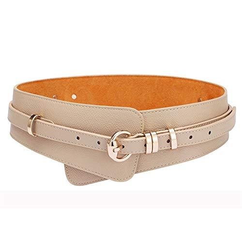 Schnalle Cinch-gürtel (Junjiagao Damen hohe Taille Breiten Stretch Gürtel Vintage Schnalle dekorative elastische Cinch Band Gürtel (Farbe : Beige, Größe : M))