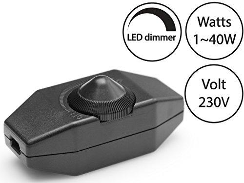 Dimmer (Schnur-Drehdimmer) | zwischen 1-40 Watt stufenlos dimmen | für dimmbare LED, Glühlampen | Ein-Aus Schalter | 220-230V, CE | In-Line Dimmschalter/Schnur-Zwischendimmer für Leuchtmittel ab 1 Watt | Schwarz | Geräuschlos | Buchenbusch Urban Design (Licht-schalter Montieren)