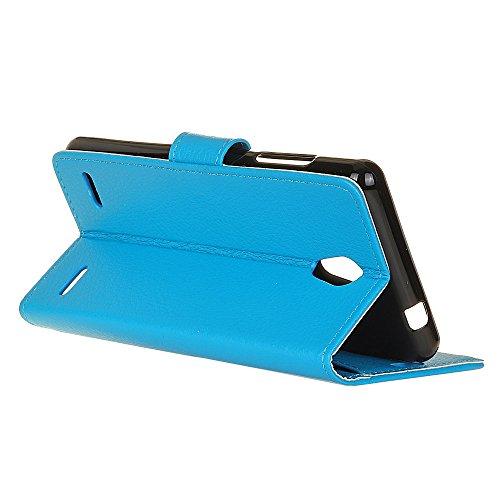 Solid Color Litchi Hautmuster Faux Ledertasche, Retro Folio Stand Case mit weichen Back Cover Geldbörse Tasche mit Card Slots für ZTE Blade A521 ( Color : Black ) Blue