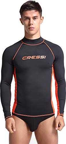 Cressi Herren Rash Guard Lange Ärmel aus elastischem Stoff für Erwachsener UV-Schutz (UPF) 50+, Schwarz/Orange, L/4 (52) -
