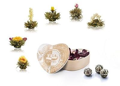 Thé floraison, Fleurs de thé dans une boîte de forme de coeur 6 variétés de thé blanc de Creano
