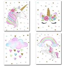 DierCosy Unicornio Decoración Painting Lámina Conjunto de 4 Pinturas patrón de Flor de Las PC de
